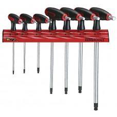 Šešiakampiai atsuktuvai HEX su T formos rankena ir sieniniu stovu Teng Tools WRHEX07 2.5-8 mm