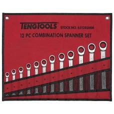 Kombinuotų terkšlinių raktų rinkinys, vienos krypties 12 dalių Teng Tools 6512RSMM
