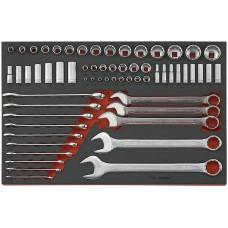 62 dalių U formos žiedinių raktų ir galvučių rinkinys Teng Tools TTEAF62