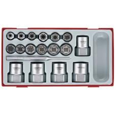 Galvučių smeigėms išsukti rinkinys su 1/2, 3/8 fiksatoriumi  18 dalių Teng Tools TTBE18