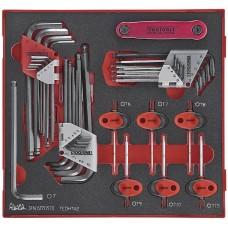 L- formos Torx ir šešiakampių raktų rinkinys, 42 dalių. Teng Tools TEDHT42