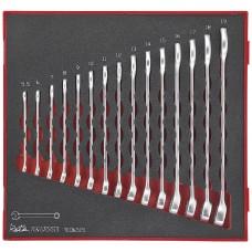 15 dalių Kombinuotų veržliarakčių rinkinys Teng Tools TED6515