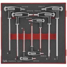 7 dalių TX/TPX raktų su T formos rankena rinkinys. Teng Tools TEDTX7