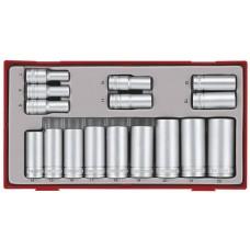 Dvylikakmpių galvučių rinkinys su 3/8 keturkampiu fiksatoriumi 16 dalių rinkinys Teng Tools TT381612