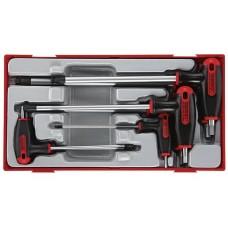 Šešiakampių atsuktuvų HEX su T formos rankena rinkinys 7 dalių Teng Tools TTHEX7 2.5-8 mm
