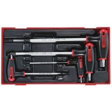 Šešiakampių atsuktuvų HEX su T formos rankena rinkinys 7 dalių Teng Tools TTHEX7AF 3/32-5/16 colio