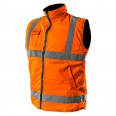 Oranzinė Darbinė liemenė be rankovių, dvipusis, viena pusė atspindinti