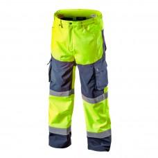 Didelio matomumo darbinės kelnės, šiltos geltonos spalvos